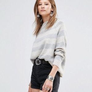 Free People Wool Blend Stripe Gray Sweater Size L
